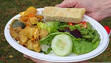 Reading Town Meal vegetable curry, salad and focaccia