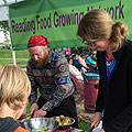 Apple chopping on the Reading Food Growing Network stand