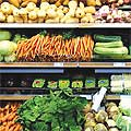 Vegetables on supermarket shelves